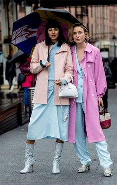 it girl - casaco-rosa-conjunto-azul - candy color - inverno - street style