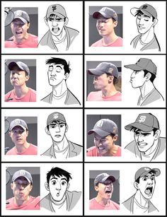 Side by side expressions of Daniel Henney while voicing Tadashi from Disney&; Side by side expressions of Daniel Henney while voicing Tadashi from Disney&;s Big Hero 6 [br] Side [br] Character Design Cartoon, Character Design References, Character Drawing, Character Design Inspiration, Character Concept, Character Development, Visual Development, Character Design Tutorial, Character Model Sheet