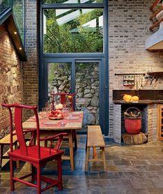 Pretty tile floor and brick | floordesignsideas...