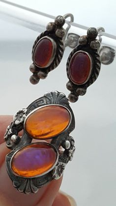 Vintage Flashing Mexican Fire Opal 4 Cabachons 925 Silver Ring and earrings set