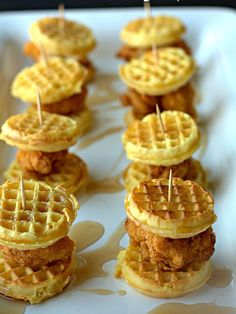 If you haven't tried the classic, southern combination of chicken and waffles, now is the time. With the perfect balance of sweety and savory, these sliders are sure to be a hit.