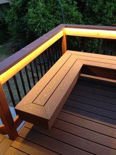 Deck with bench (composite & redwood) - contemporary - Deck - Santa Barbara - Cuba Daugh Deck Bench Seating, Built In Seating, Building A Floating Deck, Building A Deck, House Building, Outdoor Deck Lighting, Casa Loft, Deck Railings, Patio Handrail Ideas