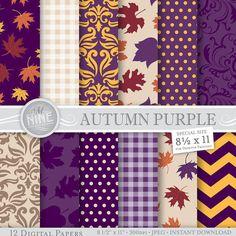 "AUTUMN PURPLE Digital Paper 8 1/2"" x 11"" Fall Pattern Prints, Instant Download, Fall Leaves Backgrounds Print Chevron Damask Pattern"