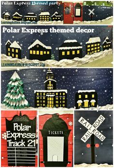 Polar Express themed décor - town square, 3D tree, town hall, toy store, train station, ticket window, train schedule, neighborhood, Santa & reindeer, Railroad Crossing, and the Train with silhouettes