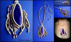 """Growth"" Macrame cord,czech glass beads,agate stone. Adjustable length."