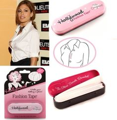 "Want to avoid revealing too much through the gap of your blouse? Hollywood Fashion tape is a favourite with all celebrity stylists as it can be used to repair a hem, hold bra straps, keep garments in place all day and so much more! It is hypoallergenic and each cute tin comes with 36 ready to use 3"" x ½"" strips ready for any fashion emergency! http://www.secretfashionfixes.ie/hollywood-fashion-tape/hw%20tpe%20tinpd.html"
