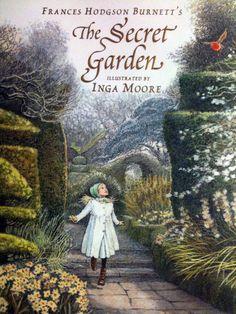 "couverture de livre : ""The Secret Garden"", illustration Inga Moore, jardin"