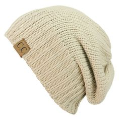 Women's C.C NYfashion101 Exclusive Two Way Cuff & Slouch Warm Knit... (32 BRL) ❤ liked on Polyvore featuring tops, beige, knit top, beige top, rib knit top, rib top and ribbed knit top