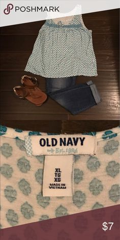 Old navy top Cute blue Old navy shirt with a cute print. Worn only a few times. Smoke free home. Gently used. (Accessories not included) Old Navy Tops Tank Tops