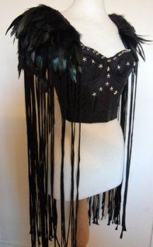 Black Feather Fringed Epaulettes