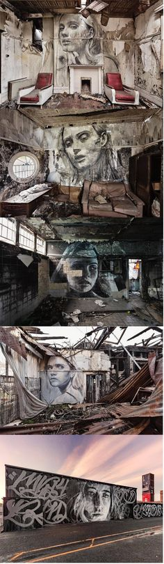 « Empty » Women Portraits in Abandoned Places by Rone