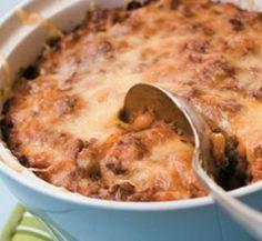Cowboy casserole | Macaroni, Mince, Baked Beans, Cheese, Chilli, Oregano, Worcestershire Sauce
