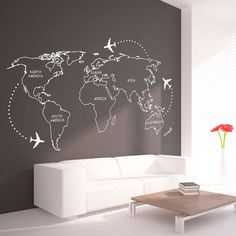 Contours de carte mondiale avec Continents Decal - grand monde carte Wall Sticker vinyle - monde carte murale autocollant
