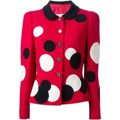 Moschino Vintage Polka Dot Skirt Suit ($782) ❤ liked on Polyvore featuring suits, jackets, cardigans, outerwear, red y skirts