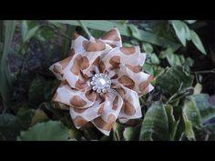 Flor com fita de organza   DIY - PASSO A PASSO - YouTube