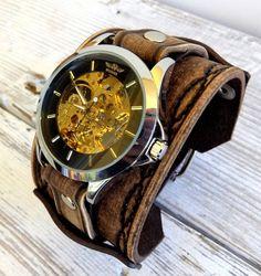 Steampunk leather watch, Men's leather watch, Rustic brown watch, Skeleton wrist watch, Leather watch cuff, Bracelet watch
