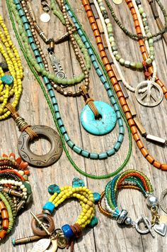 Bohemian jewelry necklace collection ... #peace #sign #turquoise #silver #beads #layered