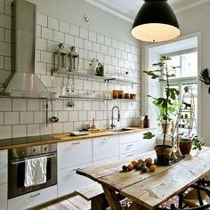 Big subway tiled kitchen