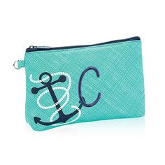 Mini Zipper Pouch in Turquoise Cross Pop w/ Anchor for $12 - This cute style is perfect for rounding up all those small extras in your purse – lipstick, loose change, keys and more! Via @thirtyonegifts