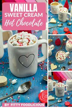 Vanilla Sweet Cream Hot Chocolate is an easy and delicious drink to not only get you through the winter blues but also to enjoy during Valentine's Day. I've got you covered with my rich and creamy Vanilla Sweet Cream Hot Chocolate made with cacao powder, vanilla sweet cream, and topped with whip cream and Valentine's Day sprinkles. This is one comforting drink you will come to again and again! #hotchocolate #valentinesday #desserts #dessertrecipes #sweetcream #starbucks #february #vdayrecipes Tea Recipes, Coffee Recipes, Dessert Recipes, Drink Recipes, Dessert Ideas, Cocktail Recipes, Cocktails, Fun Drinks, Yummy Drinks