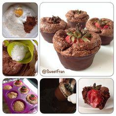 Muffins de chocolate con centro de fresa Receta paso a paso en➡️http://sweetfran.cl