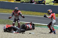 Jerez, Spain: Ducati Corse Team rider Jorge Lorenzo is reluctant to blame anyone for a domino collision incident in MotoGP Spain 2018 which took place at the Jerez, Read here to get more information! Motogp, Grand Prix, Race Around The World, Marc Marquez, Le Mans, Ducati, Sport Bikes, Golf Bags, Cars And Motorcycles