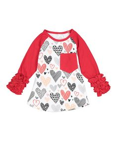 This Red & White Hearts Ruffle Raglan Tee - Infant, Toddler & Girls is perfect! #zulilyfinds