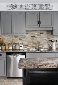 Supreme Kitchen Remodeling Choosing Your New Kitchen Countertops Ideas. Mind Blowing Kitchen Remodeling Choosing Your New Kitchen Countertops Ideas. Kitchen Cabinet Design, Kitchen Redo, Kitchen Colors, Kitchen Paint, Painting Kitchen Cabinets, Grey Kitchen, Diy Kitchen Cabinets, Kitchen Design, Diy Kitchen