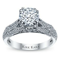 Love the profile on this ring! Kirk Kara 18K White Gold Diamond Engagement Ring Setting