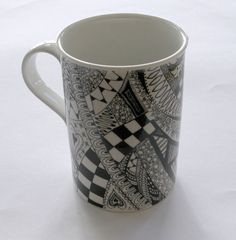 Black and white mug zentangle doodle porcelain coffee tea
