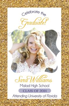Glitter Graduation Announcement High School by UniquelyJDesigns Graduation Party Planning, Graduation Celebration, Graduation Decorations, High School Graduation, Graduation Cards, Graduation Invitations, Graduation Ideas, Senior Announcements, High School Classes