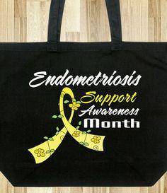 Endometriosis Awareness Month Flower Ribbon Tote Bag #endometriosis #endometriosisawareness #endometriosisawarenessmonth