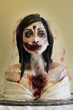 I'm no ordinary girl, so my wedding cake wouldn't be ordinary either. I would love a ZOMBIE wedding cake, if I had my choice. Halloween Snacks, Bolo Halloween, Adornos Halloween, Halloween Ideas, Halloween Costumes, Halloween Baking, Halloween Goodies, Adult Halloween, Halloween Horror