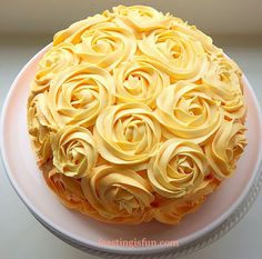 Orange Lemon Ombre Piped Rose Cake deliciously moist citrus 3 layer citrus cake sandwiched with lemon curd and decorated in piped ombre buttercream roses. Creative Cake Decorating, Creative Cakes, Cookie Decorating, Lemon Birthday Cakes, Fondant, Citrus Cake, New Year's Desserts, Cake Recipes, Dessert Recipes