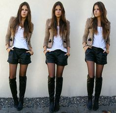 Blazer + black boots + shorts. If only I was as thin to rock this look!,