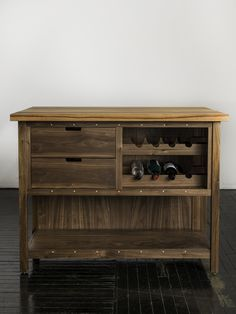 Walnut Kitchen Island Cabinet with Hickory Butcher-Block Top and Wine Storage. Contact us for pricing inquiries!