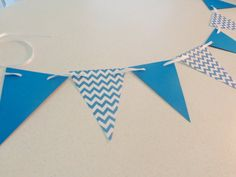 Blue Chevron Pennant Banner--perfect party or shower decoration, photo prop, etc.!