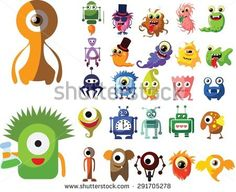 Vector set of drawings of different characters isolated monsters, robots, germs, bacteria, aliens and other Halloween characters for your design, prints and banners