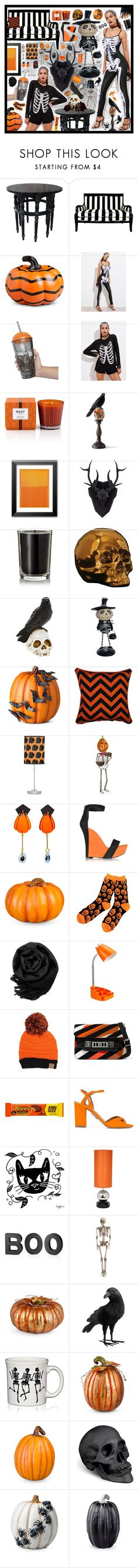 """Halloween Party!"" by beanpod ❤ liked on Polyvore featuring nOir, Improvements, Nest Fragrances, Grandin Road, Coqui Coqui, Seletti, Allstate Floral, National Tree Company, Balmain and Gearonic"