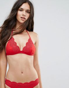 Stella McCartney Broderie Anglaise Triangle Bikini Top - Red