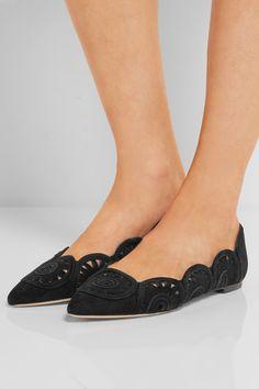 Slight heel Black suede Slip on