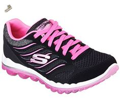 Skechers Sport Women's Skech Air 2.0 City Love Fashion Sneaker, Black/Hot  Pink,