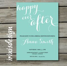 Typography Invitation MINT GREEN Couples Bridal Shower Invite | happy ever after | birthday party | calligraphy simple romantic modern | 143 on Etsy, $4.99