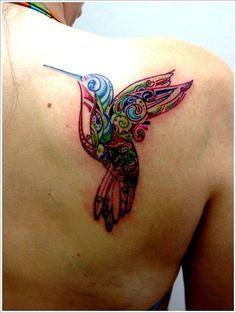 Hummingbird Tattoo Ideas: HUMMINGBIRD TATTOO Ideas For Girl On Upper Back ~ Tattoo Design Inspiration