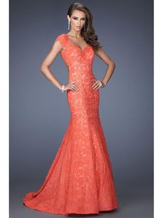 Trumpet/Mermaid V-neck Sleeveless Applique Lace Sweep/Brush Train Dress Not to big on the color, but it would be gorgeous in a different color!