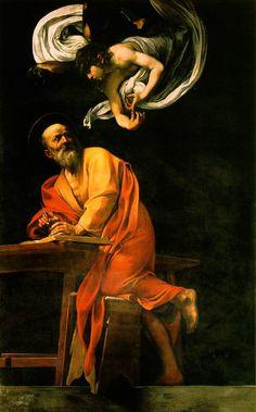 The Inspiration of Saint Matthew by Caravaggio - A Inspiração de São Mateus – Wikipédia, a enciclopédia livre
