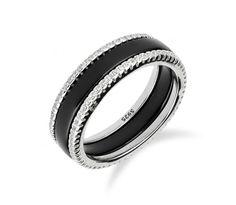 c2515ecad Stříbrný prsten s keramickým pruhem uprostřed a zirkony okolo. Snubní  PrstenyZásnubní Prsteny
