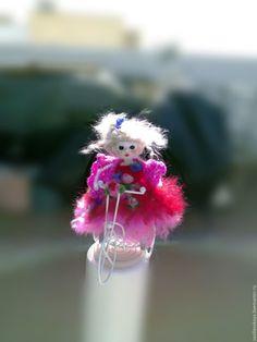 Купить кукла Девушка в розовом - фуксия, маленькая кукла, маленькая игрушка, кукла ручной работы
