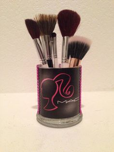 Organize your makeup brushes in a cute/ girly glass holder. Glass is 4 tall and the opening is 3 wide. *Sorry, brushes are not included*