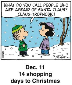 Peanuts Holiday Countdown Dec.11 14 shopping days to Christmas